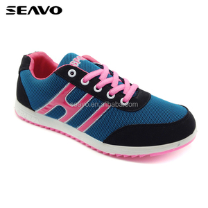 SEAVO cheap new design injection PVC ladies flat sport shoes