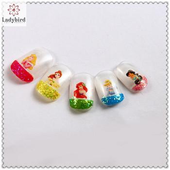 Kids Glitter French Adhesive Fake Nails