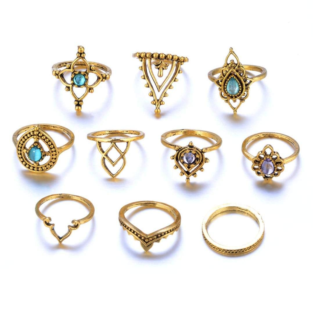 OldSch001 Rings for Women,10pcs/Set Stylish Bohemian Vintage Stack Rings Knuckle Rings