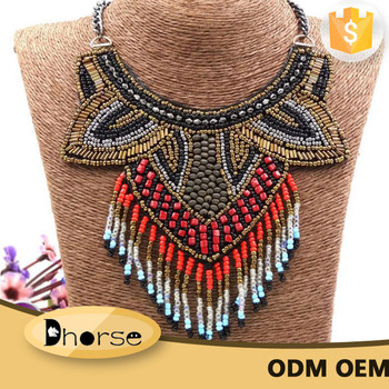 6722c3eb2de0a7 Hot sell fashion handmade african beaded necklace with beads tassels DHN0236