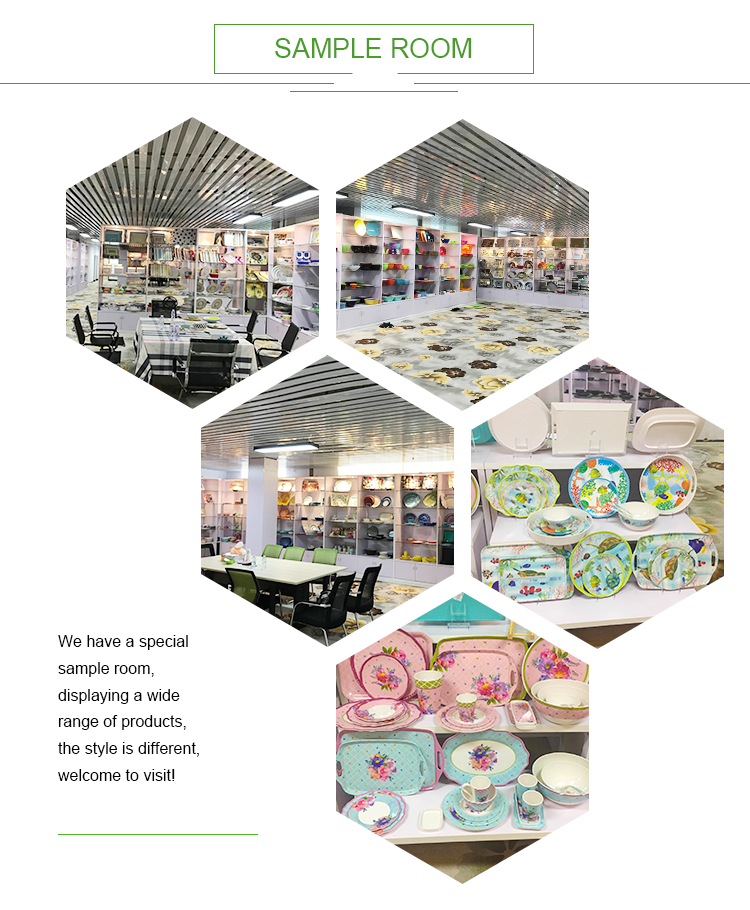 Japanese Style Bright Flowers Design Melamine Dinnerware Sets