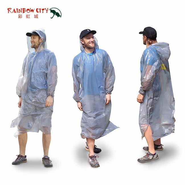 raincoat fabric waterproof fabric, high quality disposable printing PE raincoats,long colorful poncho and rain coat