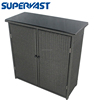 Black Resin Wicker Poly Rattan Storage Cabinet with Glass Top