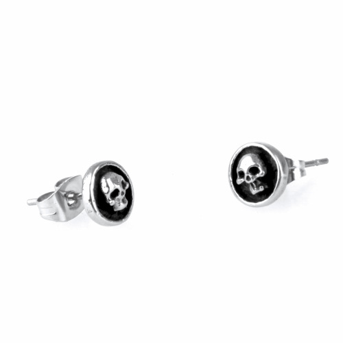 foreign trade Supply of goods Stainless steel stud earrings Male lady Punk Titanium circular black skeleton Earrings