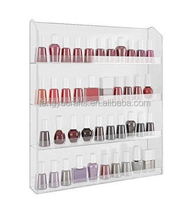 custom lucite cosmetic bottle rack acrylic clear holder stand compact nail polish wall display by Tengyu