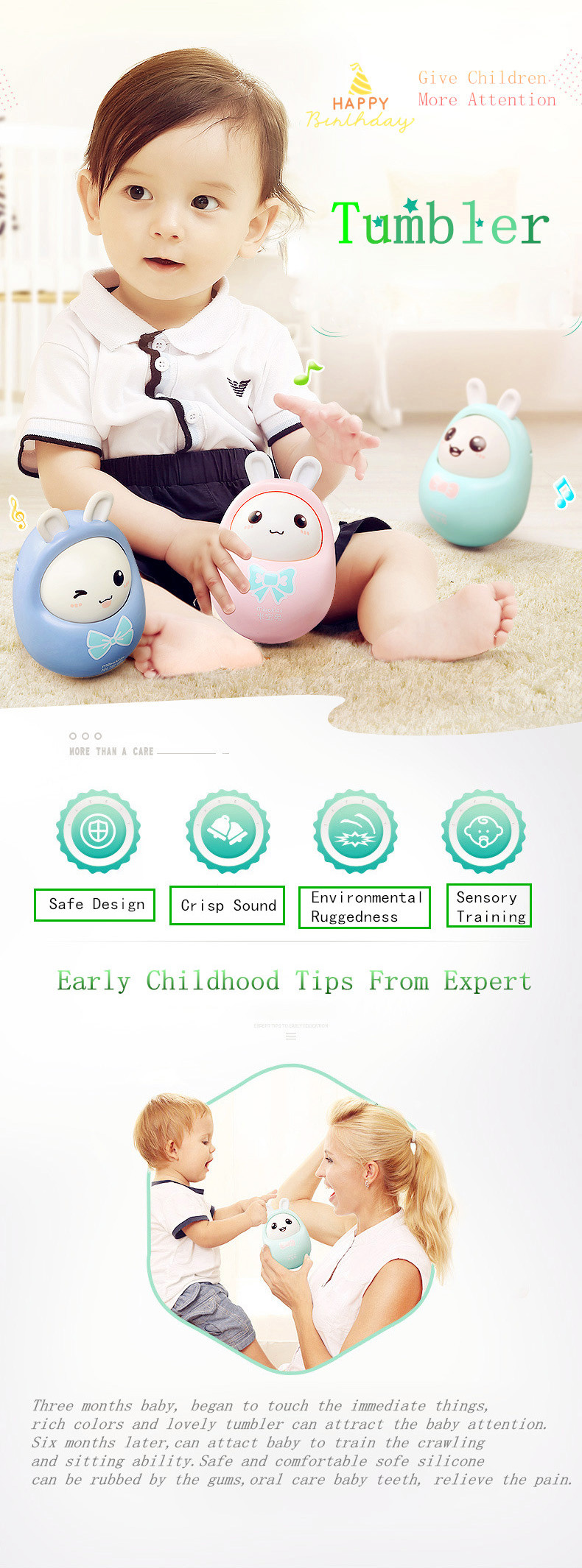 2019 Hot Sale New Baby Toy Tumbler With Rattle Toy And Teether For The Baby