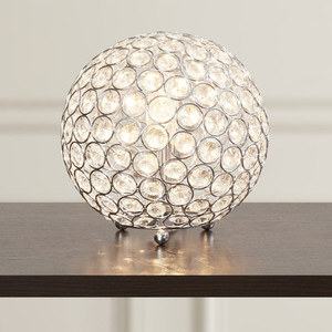 Hot Selling Chrome Metal Ball Uplight Luxury Crystal Table Lamp
