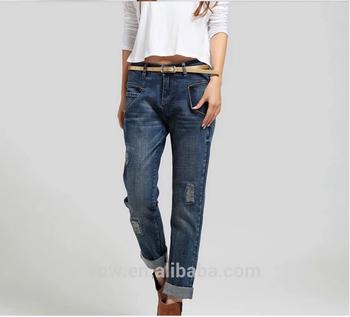 dadc5fced4 Top de moda arrancó chic urbano jeans para damas alta calidad barato novio  OEM de China