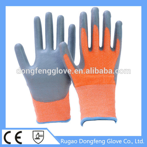 Orange Color Machine Knitted Cut Resistant Safe Work Glove/PU Coated Anti Cut Protective Gloves