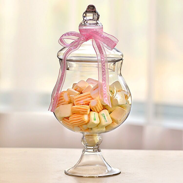 Exquisted Shape Large Glass Apothecary Jars / Glass Candy Jars Wholesale