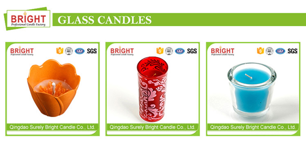 Decorative Glass Candle with White Color Wax Material
