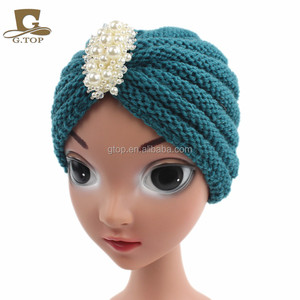 Winter kids handmade beanie Head Cover Up hat Knit Turban with pearl jewelry