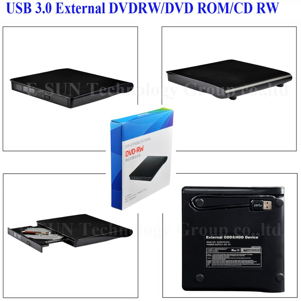 Portable Slim Multi functions Media Player (dvdrw)USB 3.0 External DVD Combo CD-RW Burner Drive dvd duplicator for laptop