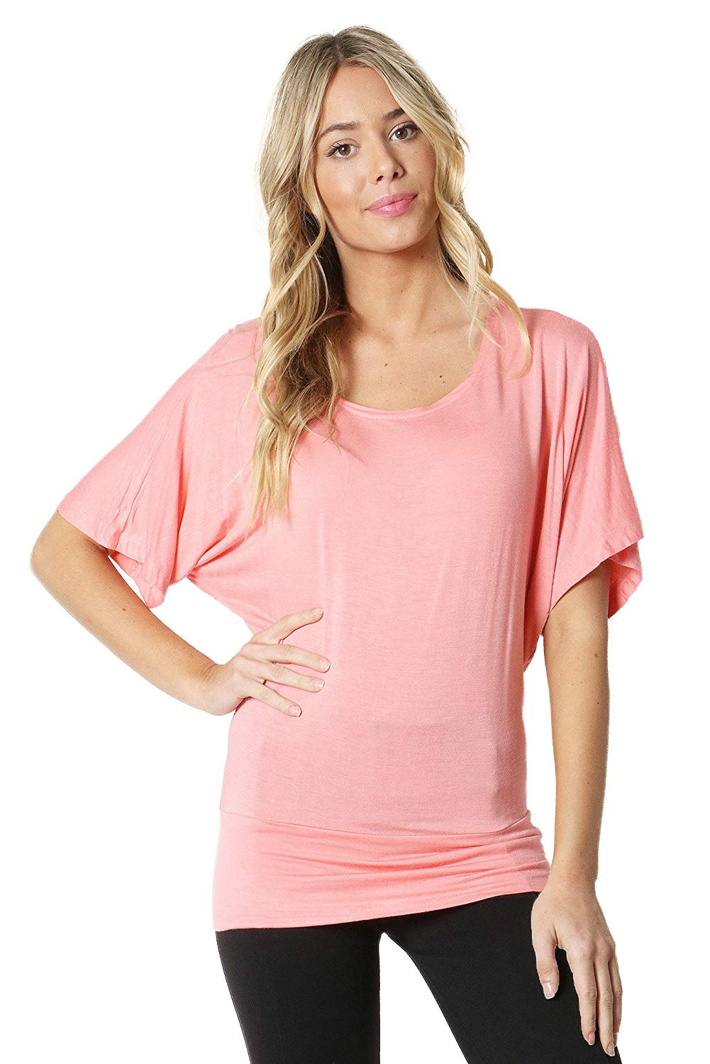 8724d5a5613c3 Get Quotations · Zenana Outfitters Round Neck Waist Band Dolman Top
