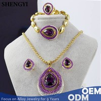 shengyi jewelry Africa water drop shape 18k gold plated expensive jewelry set