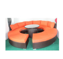 Garden wicker rattan sofa furniture aluminum frame round sofa daybed set