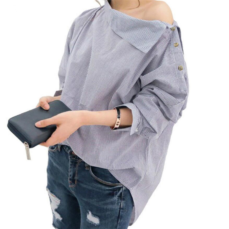 Spring New Design Fashion Blouses Women Batwing Sleeve Shirts Tops Striped Loose Off The <strong>Shoulder</strong> Top