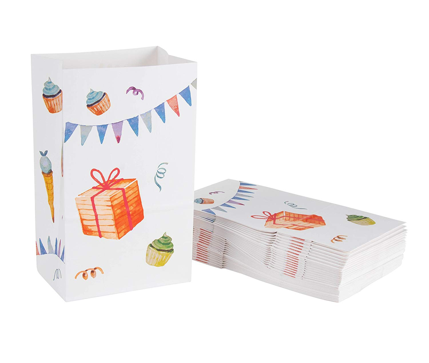 Party Treat Bags - 36-Pack Gift Bags, Birthday Party Supplies, Paper Favor Bags, Recyclable Goodie Bags for Kids, Birthday Cake and Gifts Design, 5.2 x 8.7 x 3.3 Inches