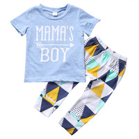Newborn Infant Baby Boys Clothing Set Mama's Boy T-shirt Tops Short Sleeve Pants Leggings 2pcs Outfits Clothing Baby boy