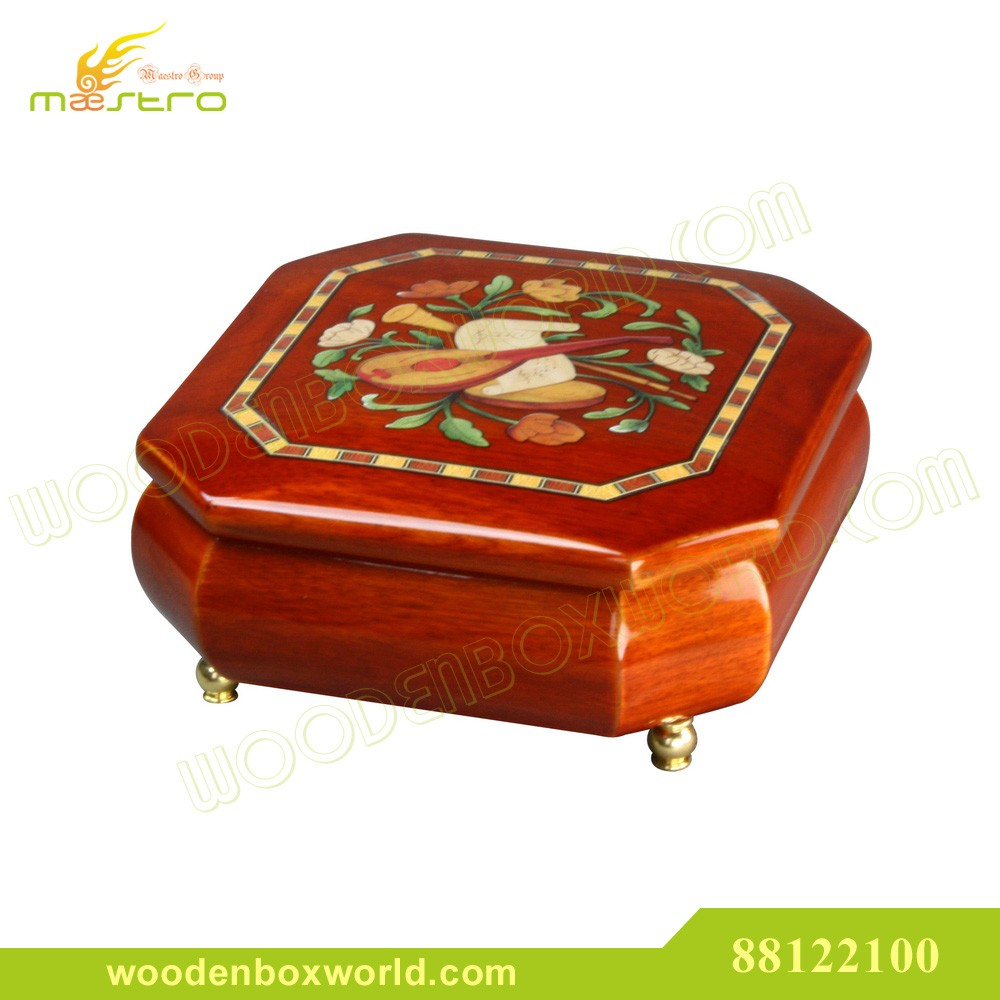 Italian Inlay Style Wooden Jewelry Music Box