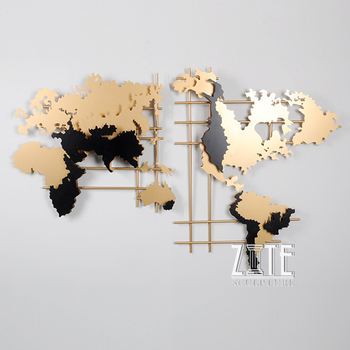 Modern Interior Metal Stainless Steel World Map Wall Art Sculpture For  Hotel Decoration - Buy Wall Art,Metal Wall Art,Interior Wall Sculpture  Product