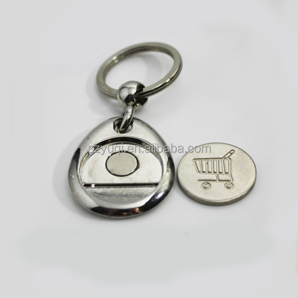 metal key chain with shopping cart coin keychain
