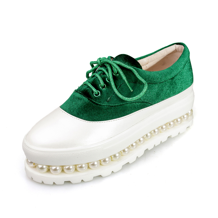 new shape green lace up pearls studded heels wedge sneakers women's shoes