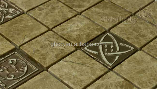 Carving Sd-T06 square carving Emperador Light marble mosaic tiles for backspash decoration