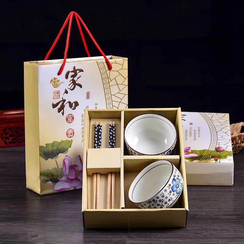 Ywbeyond Japanese style tableware sets porcelain bowls+ chopstick sets in gift box return gifts for kids birthday