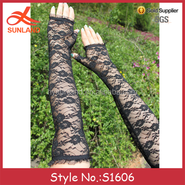 S1606 hot sale black long lace fingerless uv protection hand driving gloves wholeslae