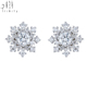 Antique Bridal Jewelry 2 Gram Gold Small Jewelry Earrings Round Brilliant Cut Single Pave Diamond Stud Snowflake Earrings 18k