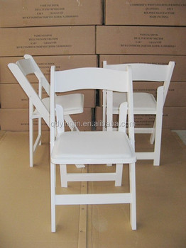 white wood resin folding chair with vinyl padded seat buy white