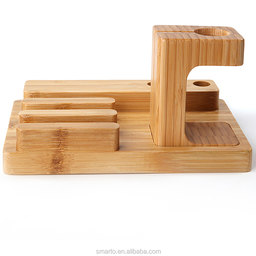 Hot 100% Bamboo Wood Multi-device Charging Station phone stand and Dock - Charges for phone devices