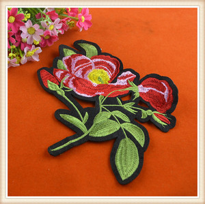 Latest embroidery flower applique floral patch custom iron embroidered patches for garment jeans hot sale