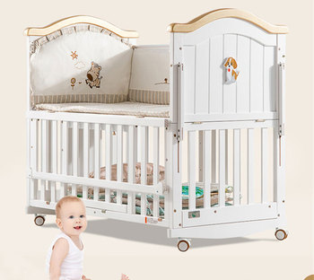 4 in 1 convertible wooden baby crib /white color baby infant bed for new born