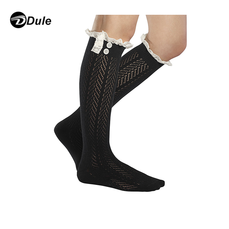 DL-II-1353 lace button knit boot socks wholesale lace boot socks boot socks with lace ruffles