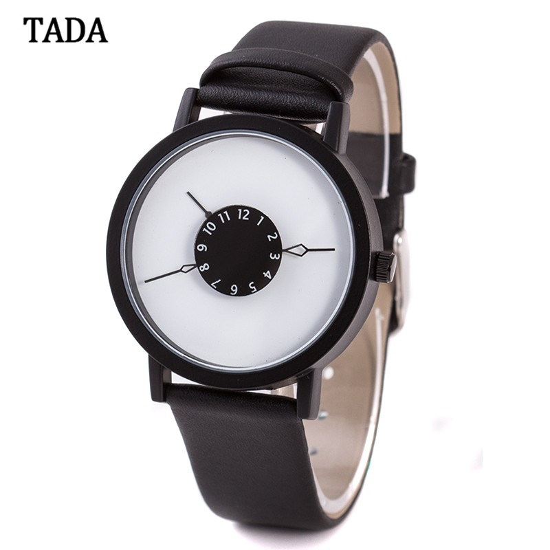 High quality tada leather band special turntable analog display japan imported quartz Waterproof women men fashion wrist watch фото