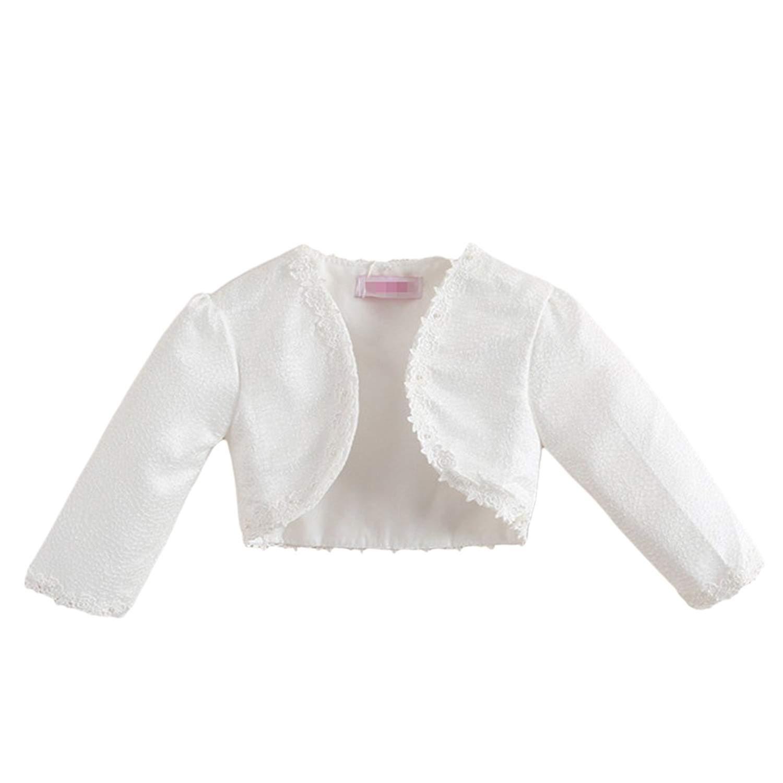 5ce7980ef9433 Get Quotations · Goodkids Little Big Girls' Long Sleeve Lace White Flower Bolero  Sweater Cardigan Shrug Jacket