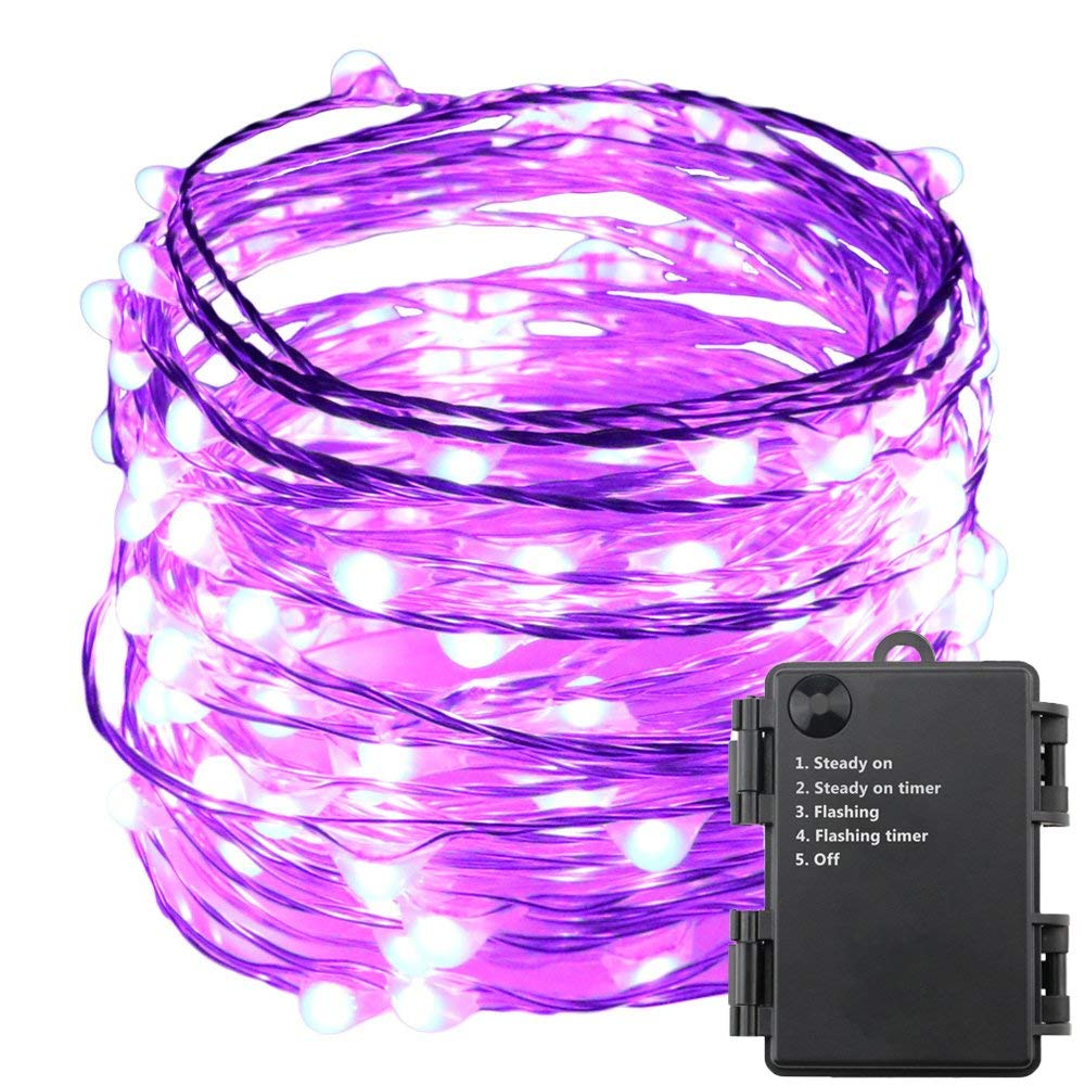 E-Age Indoor and Outdoor Waterproof Battery Operated String Lights 120LED on 20 Ft Long Silver Color Ultra Thin Copper String Wire with Timer (Purple)