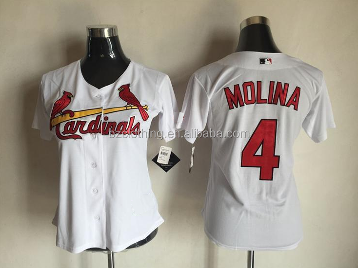 Women's St. Louis Cardinals Yadier Molina Majestic White Home Cool Base Player Jersey
