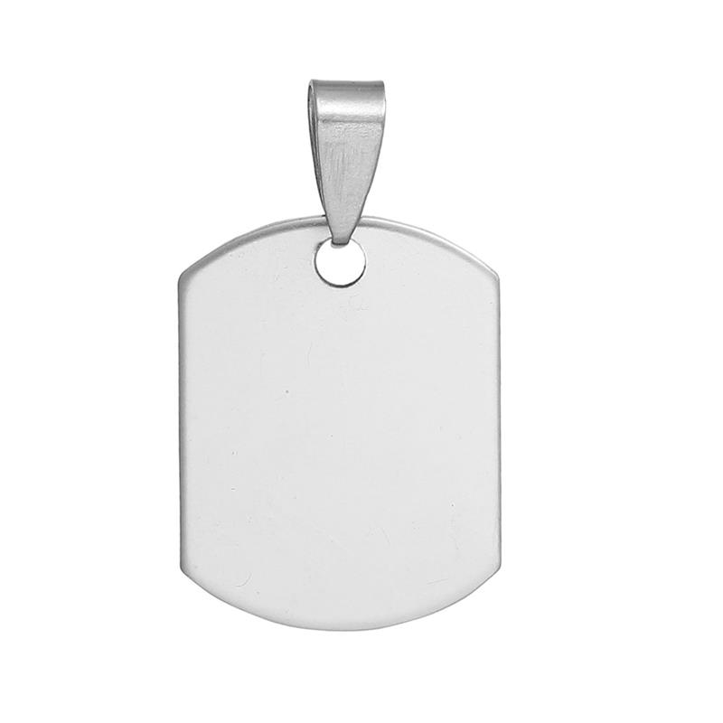 Stainless Steel Blank Stamping Tags Pendants Rectangle Silver Tone Metal Pendant For Jewelry