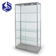 Newest arrival portable uprights glass jewelry display cabinet with wheels
