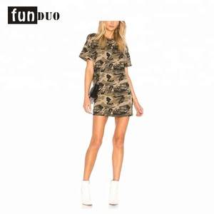 Custom 2018 women's camouflage dress t shirt with cheap factory price