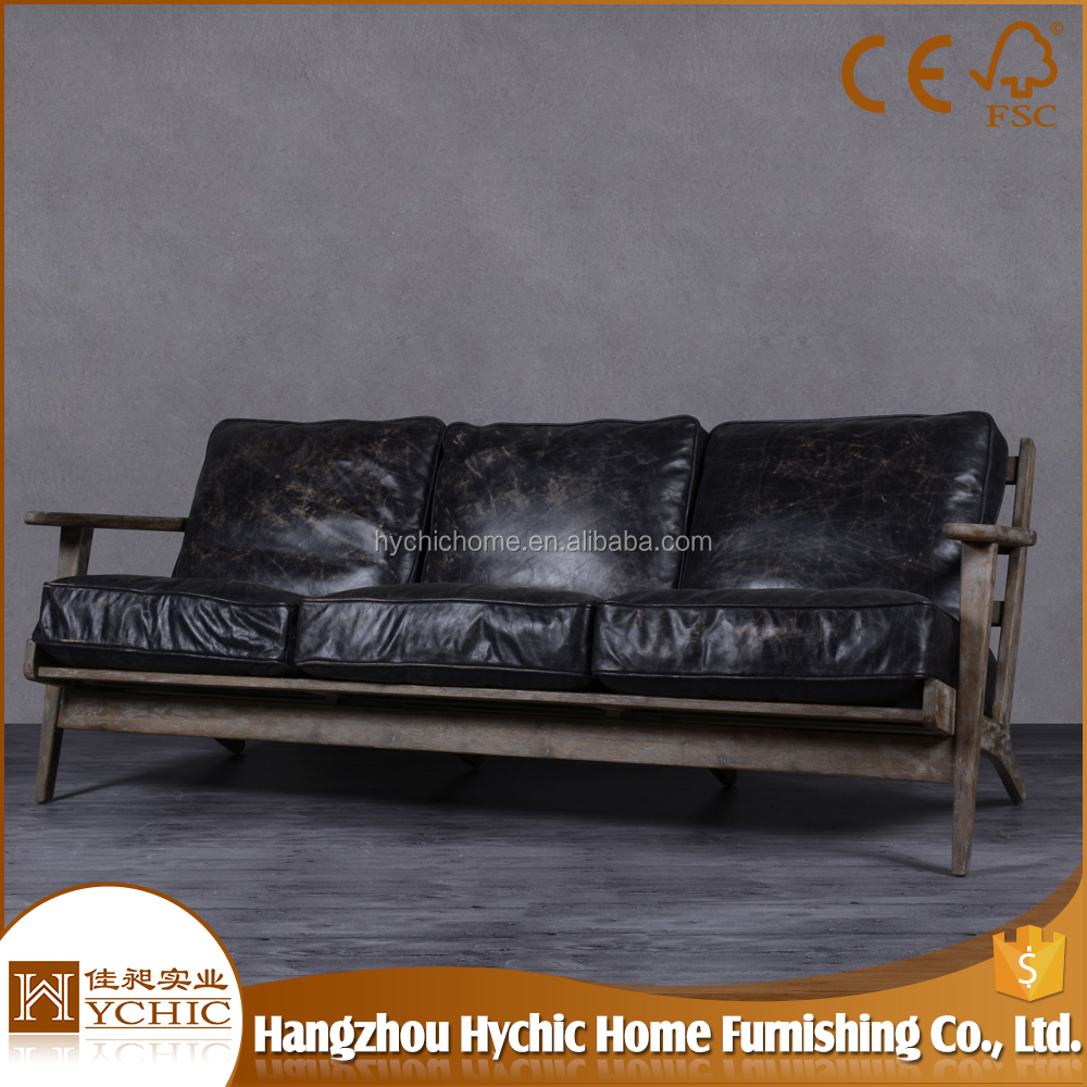 Furniture Wooden European Classical Living Room Leather Sofa Model 45 Lounge Chair