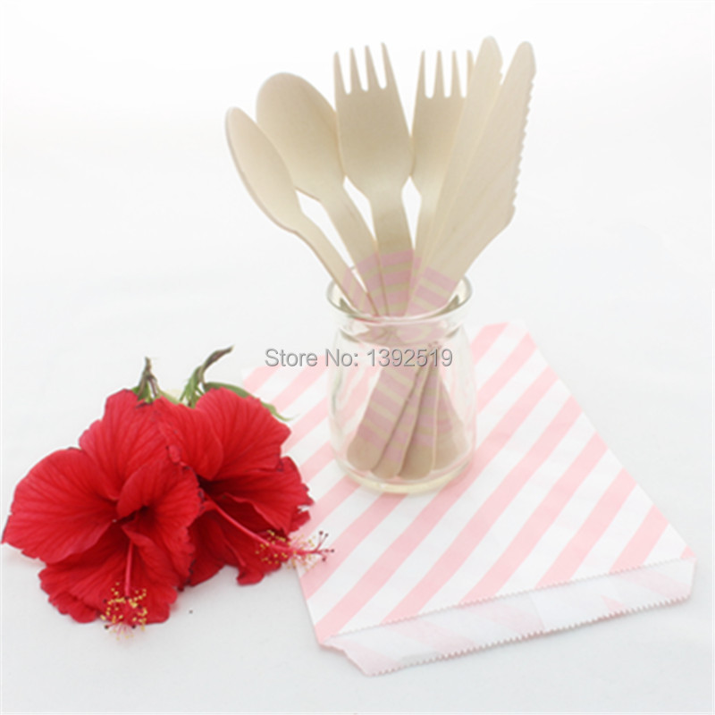 Wooden Cutlery Set--3000pcs Baby Show Wedding Party Striped Disposable Wooden Fork Spoon kinfe Wood Cutlery Party Supply