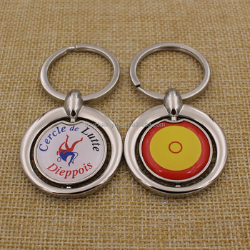 Promotion gifts custom epoxy+printing metal spin keychain