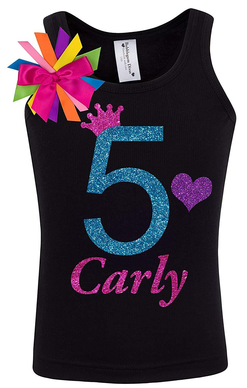 b95506b4 Get Quotations · 5th Birthday Shirt Blue Rainbow Five T-Shirt Girls  Princess Tank Top Custom Name Age