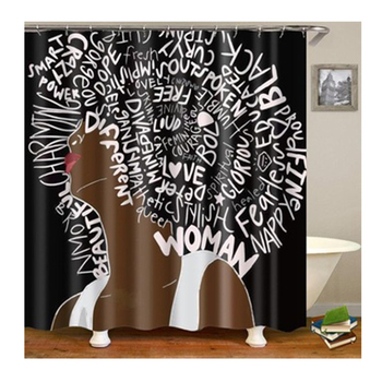 Better Design Black Girl Magic Water Proof Shower Curtain Fabric, African American Women Bath Curtain