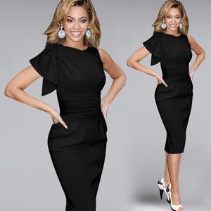 Women Dress China Supplier Vintage Ruffles Short Sleeve Business Pencil Evening Dress