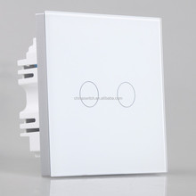 high quality electric 2 gang 1 way waterproof touch smart switch uk